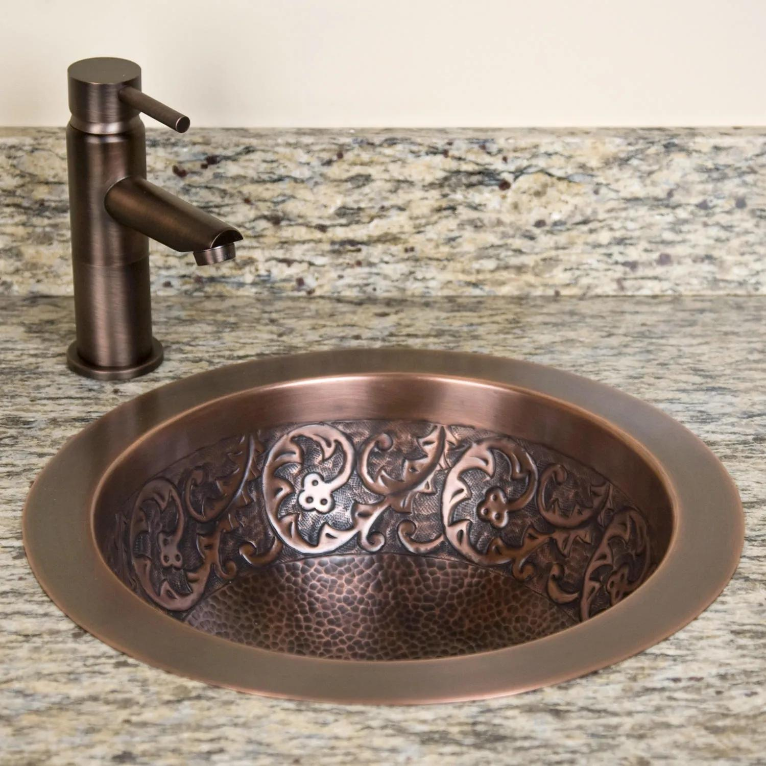 14 Casalina Double-Wall Hammered Copper Vessel Sink