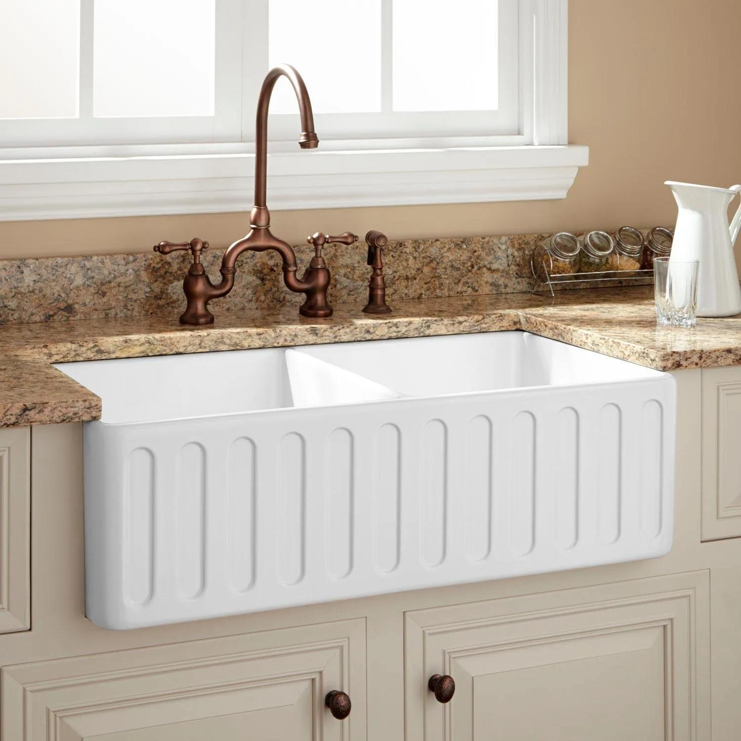 33 Northing Double Bowl Fireclay Farmhouse Sink White Kitchen