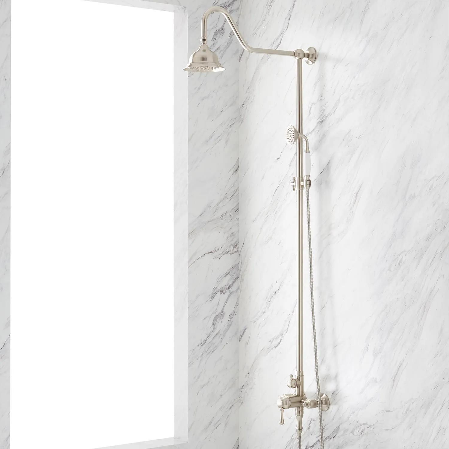 Shop Alliston Exposed Pipe Shower with Hand Shower from Signature Hardware on Openhaus