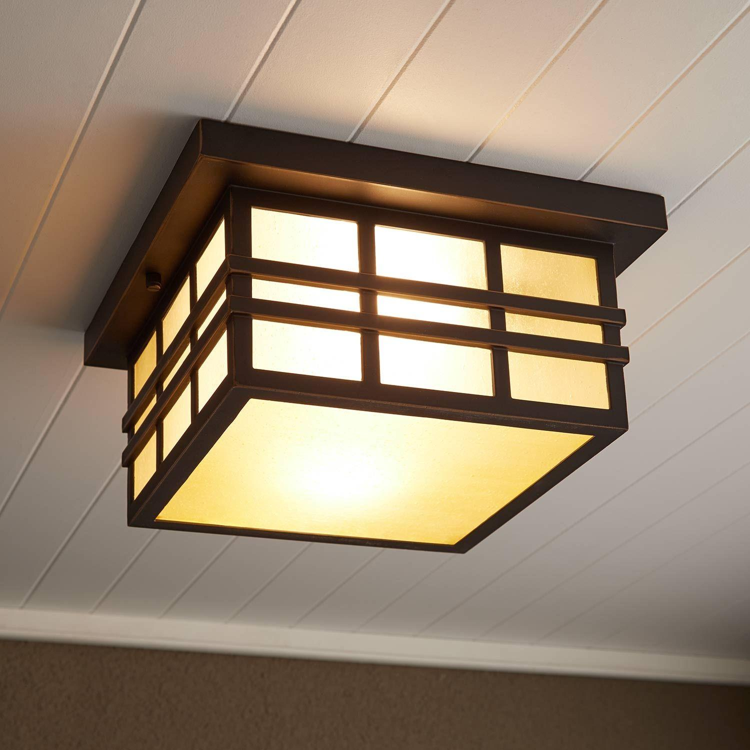 Ambler 2 Light Flush Mount Outdoor Ceiling Fixture Amber Seeded Outdoor Lighting Lighting