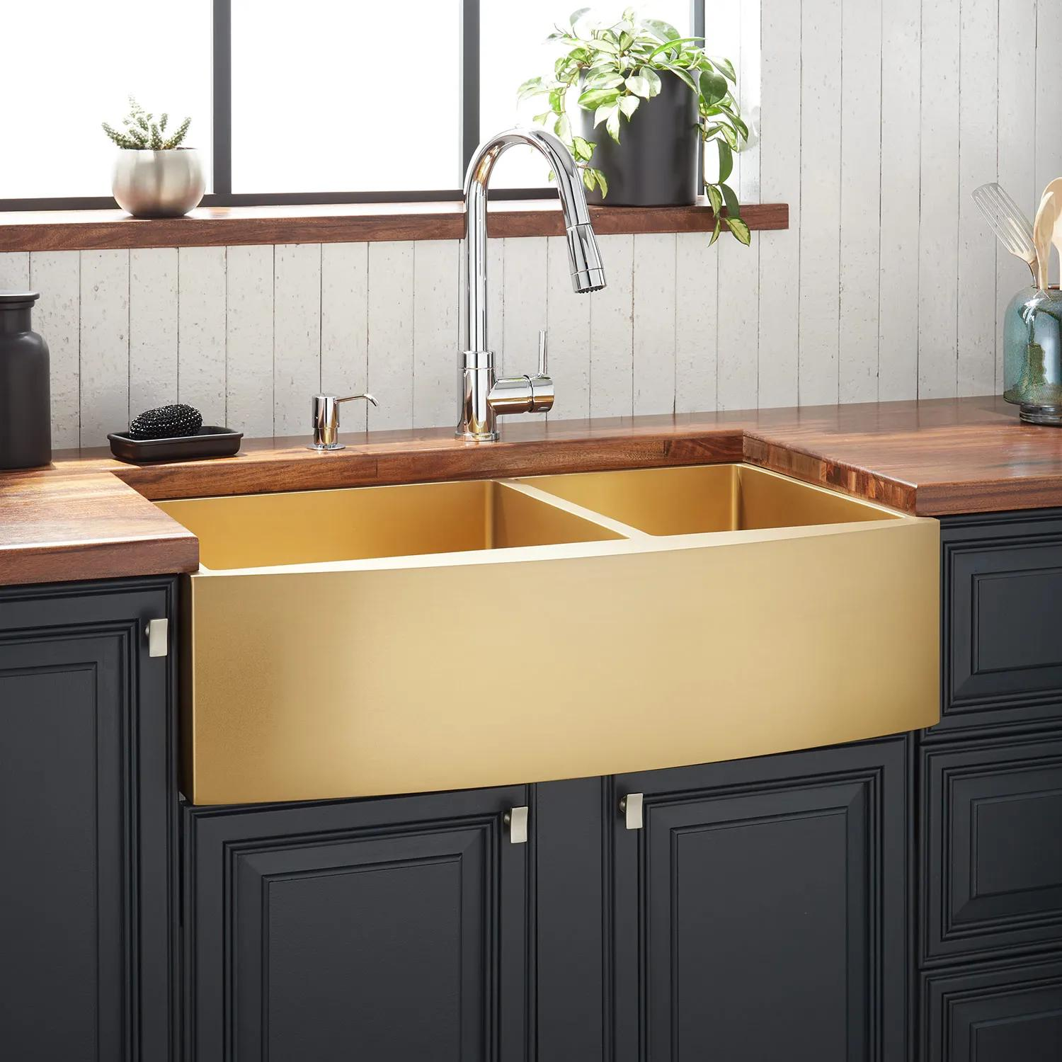 36 Atlas 60 40 Offset Double Bowl Stainless Steel Farmhouse Sink Curved Apron Matte Gold Kitchen