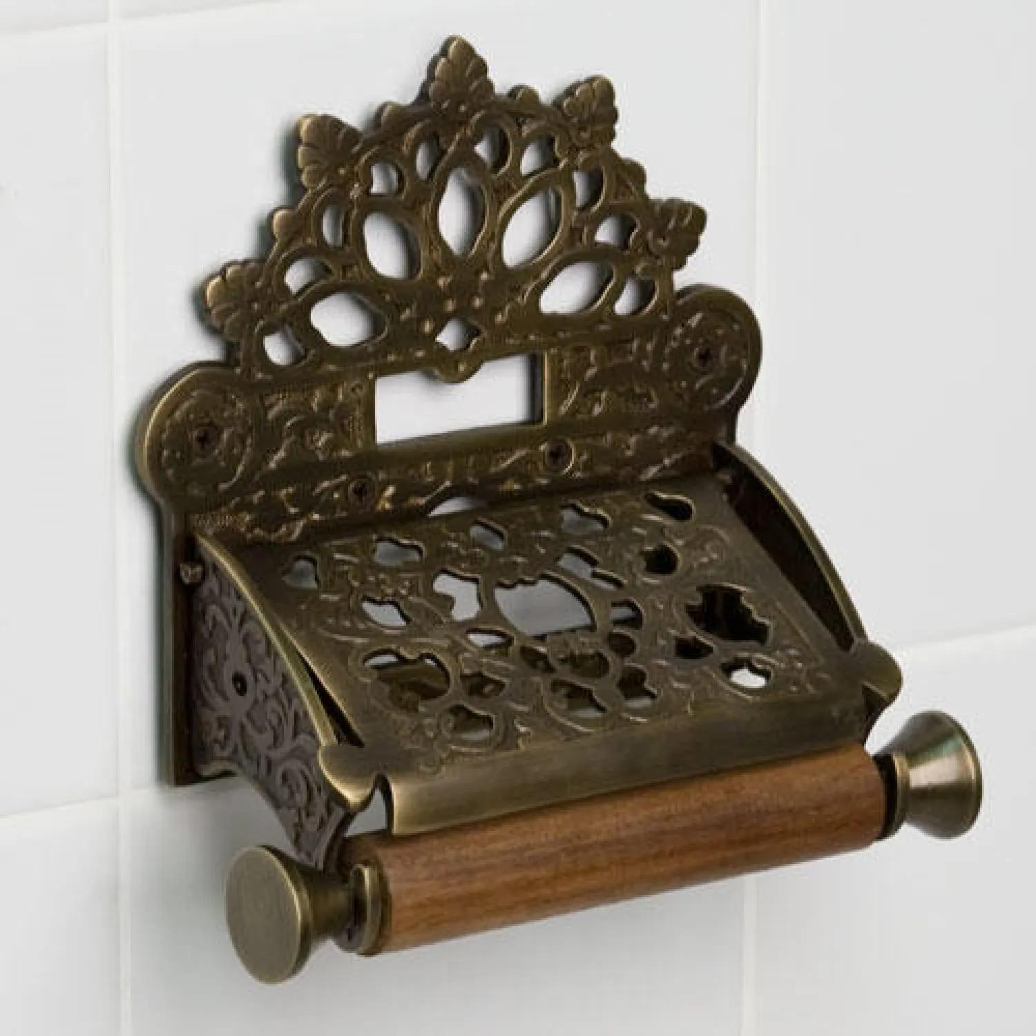 Solid Brass Oil Rubbed Bronze Toilet Paper with Brush Holder Brown