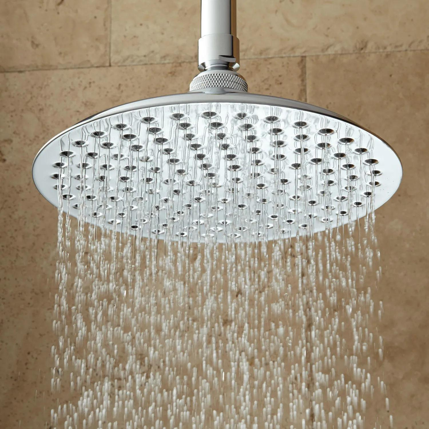 Square Brass Ceiling Mounted Shower Head Rain Arm Outlet Chrome