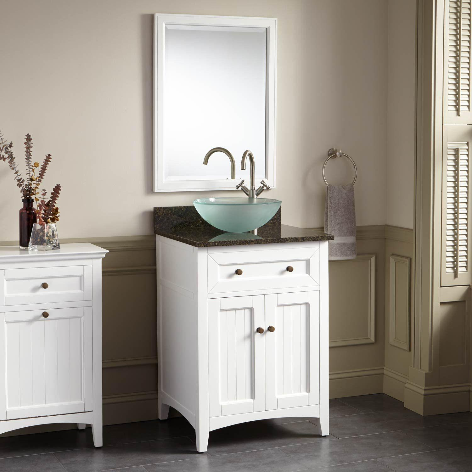 24 Halifax Vessel Sink Vanity White Bathroom