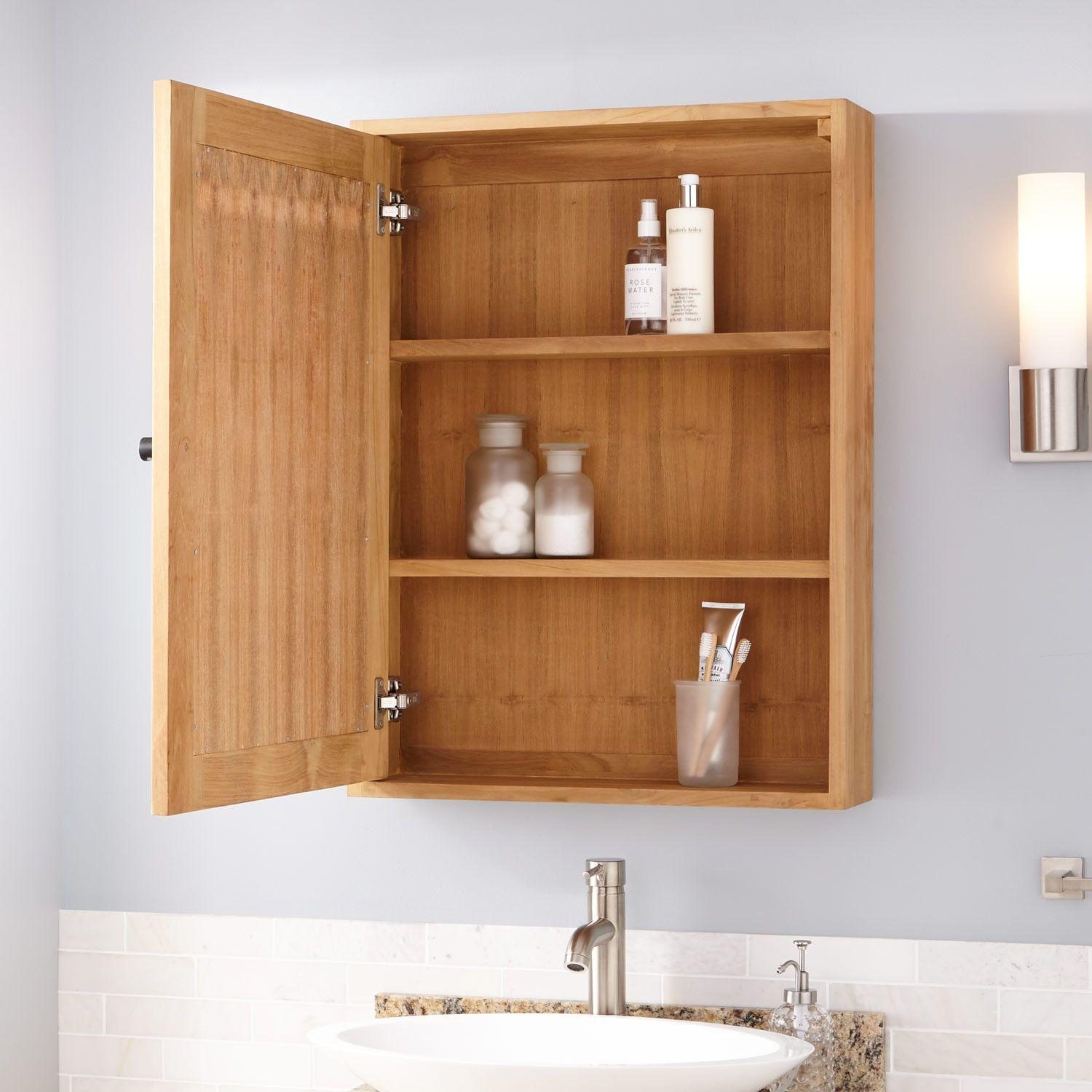 24 Osa Teak Medicine Cabinet Natural Teak Bathroom