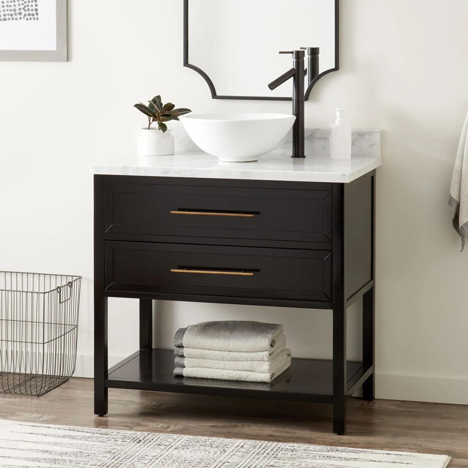 36 Robertson Vessel Sink Console Vanity Black Bathroom