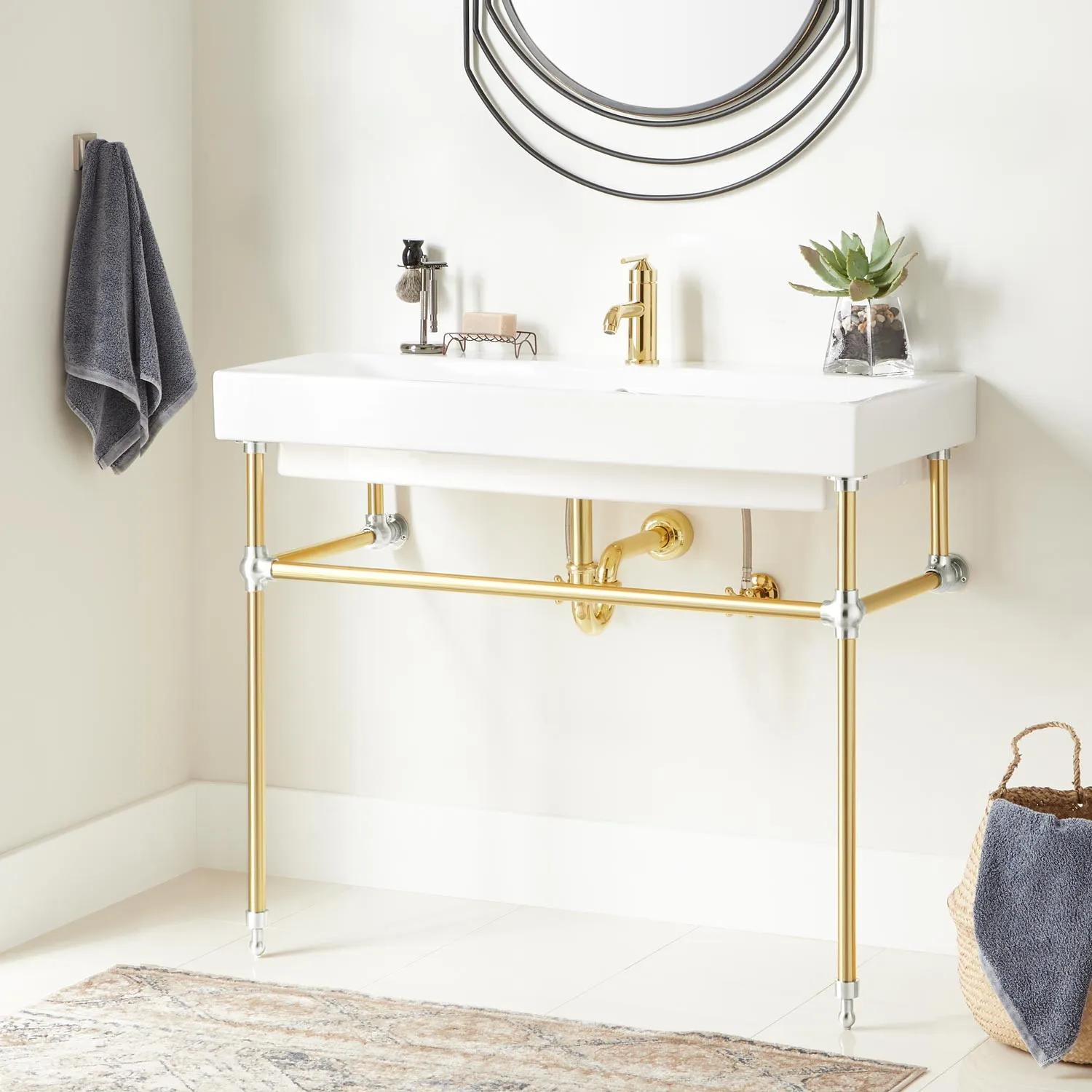 39 Stoddert Porcelain Console Sink With Brass Stand Polished Brass Chrome Bathroom Sinks Sinks