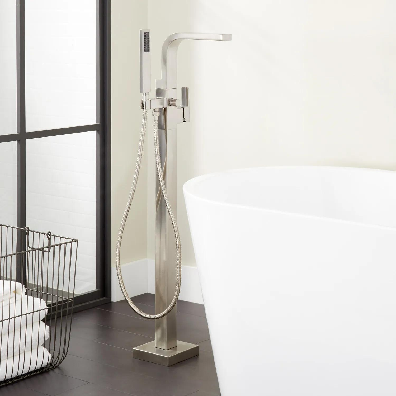 Hibiscus Freestanding Tub Faucet With Hand Shower Bathroom