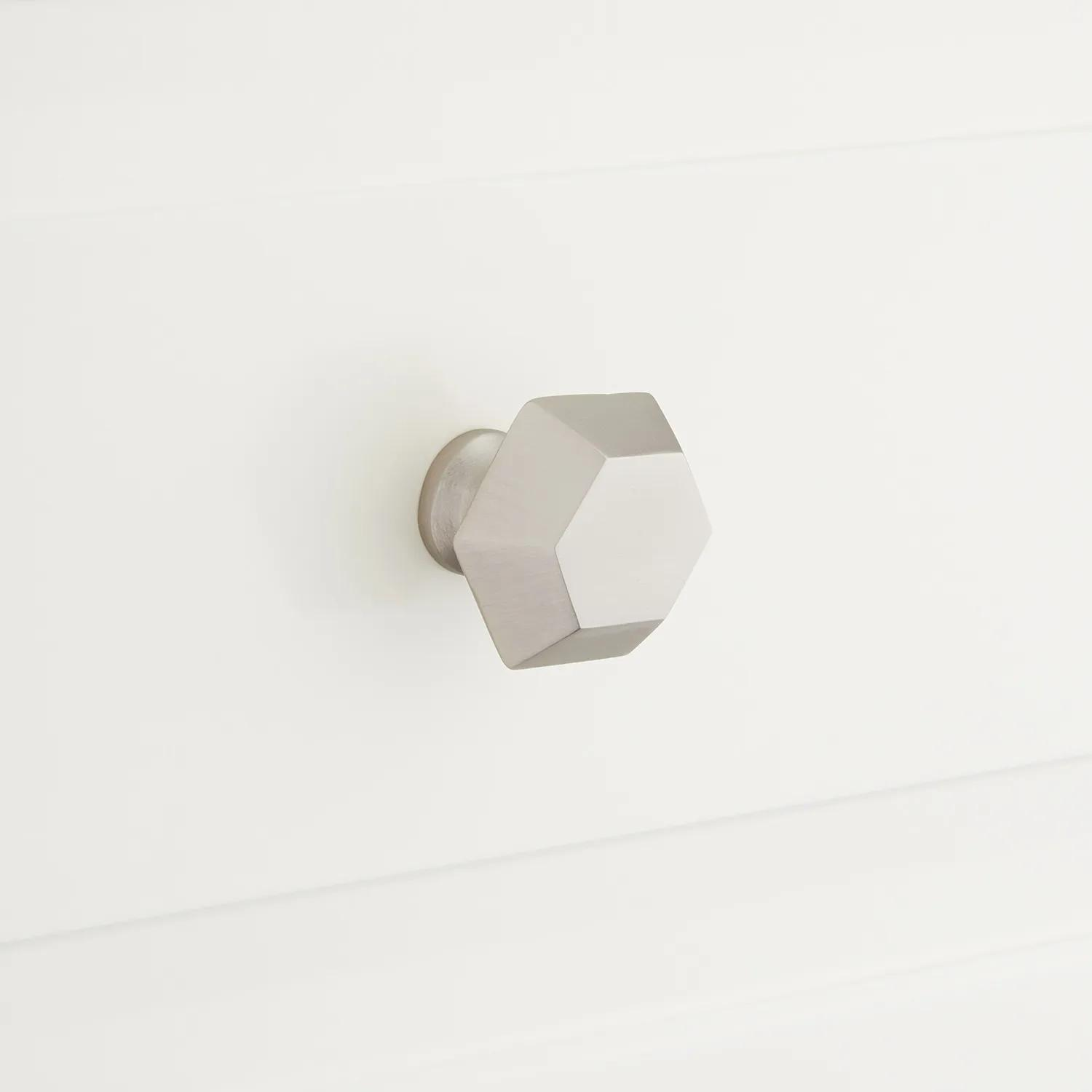 Hexagon Cabinet Knob Hardware Brushed Nickel Solid Stainless Steel