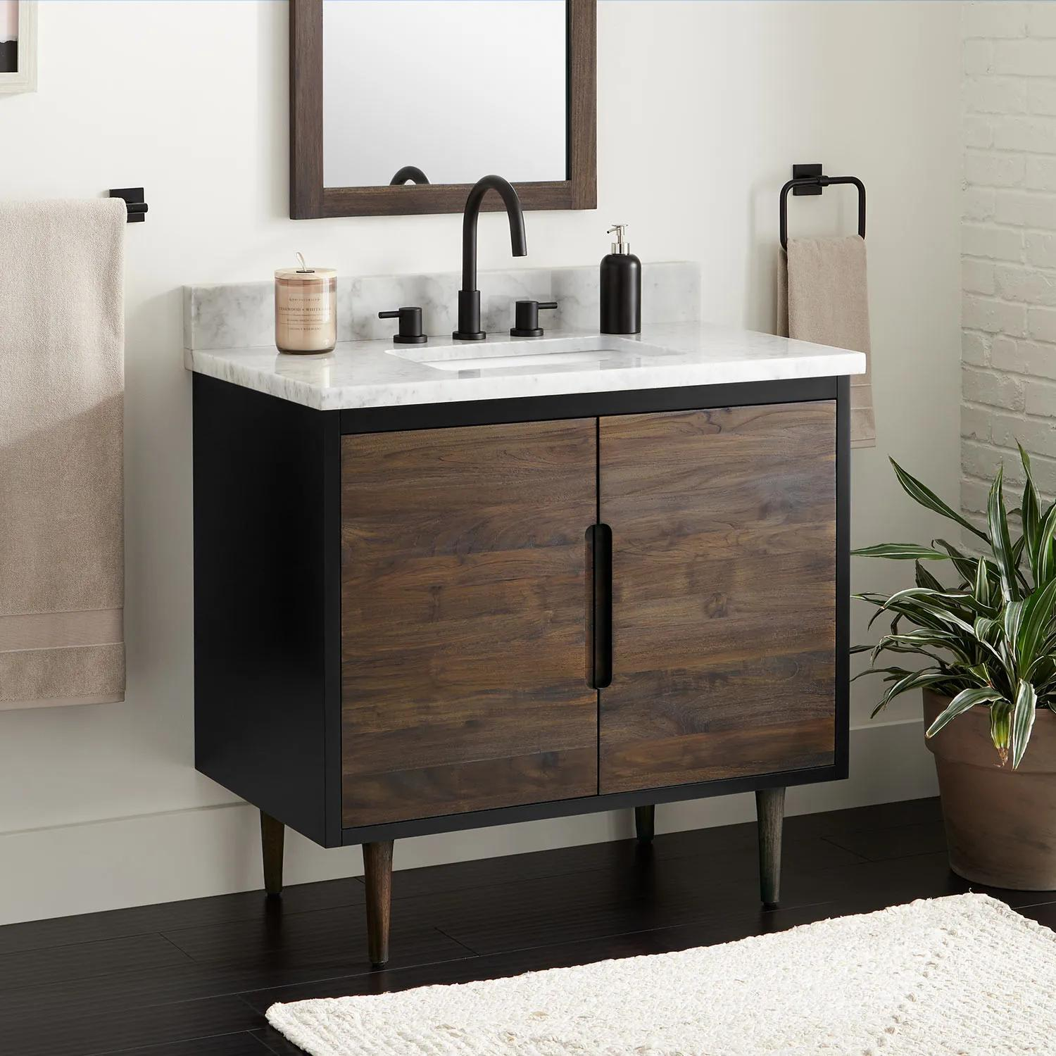 36 Bivins Teak Bathroom Vanity For Rectangular Undermount Sink Walnut Black Bathroom