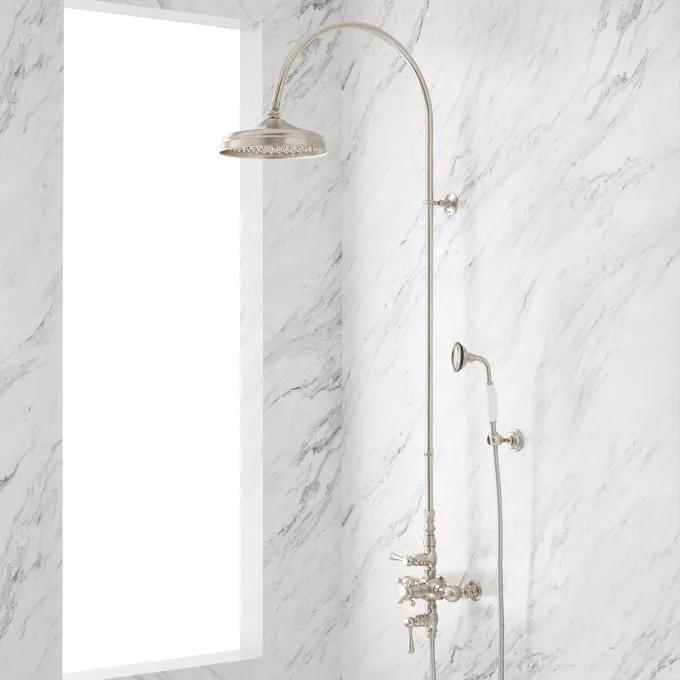 """Oxford Thermostatic Shower Set with 18"""" Arching Shower Arm and Hand Shower - 1/2"""" IPS"""