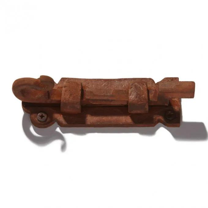 Offset Iron Surface Bolt with Curly Handle and Decorative Base