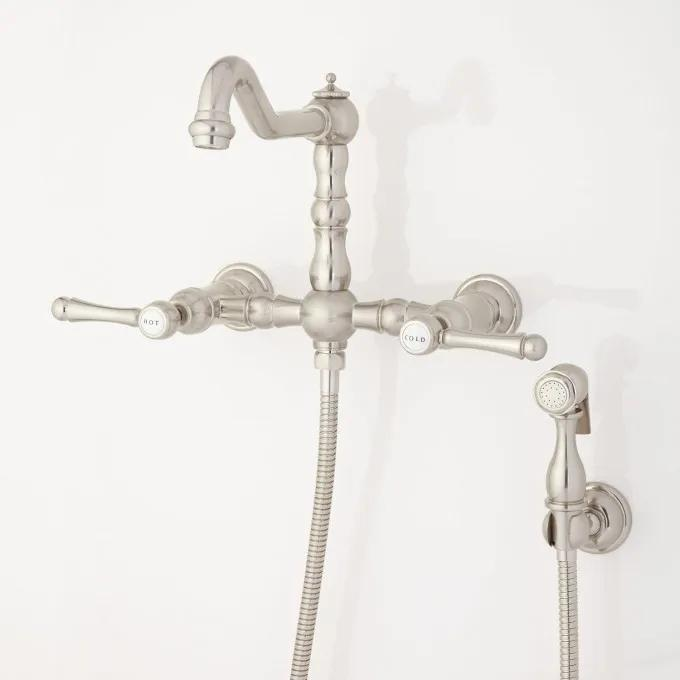 Delilah Wall-Mount Faucet with Side Spray - Lever Handles