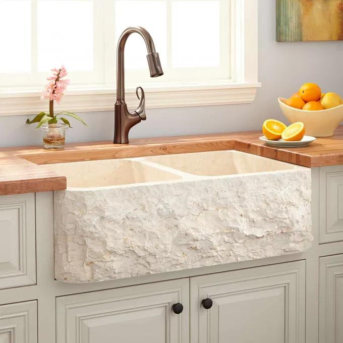 "33"" Polished Marble 60/40 Offset Double-Bowl Farmhouse Sink - Chiseled Apron - Cream Egyptian"