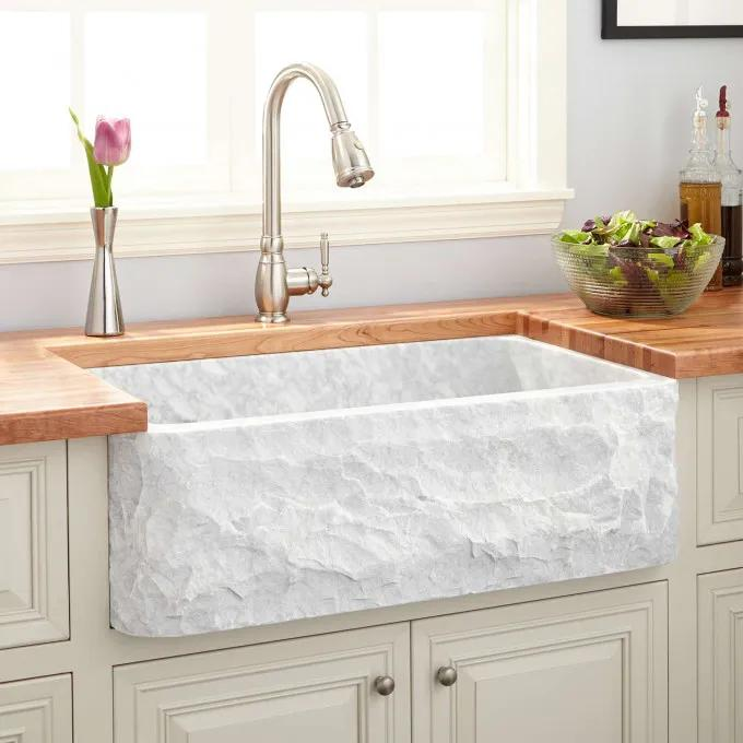 "33"" Polished Marble Farmhouse Sink - Chiseled Apron - Carrara"