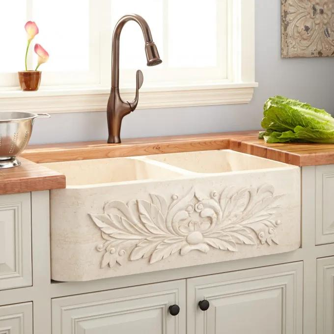 "36"" Ivy Polished Marble 60/40 Offset Double-Bowl Farmhouse Sink - Cream Egyptian Marble"