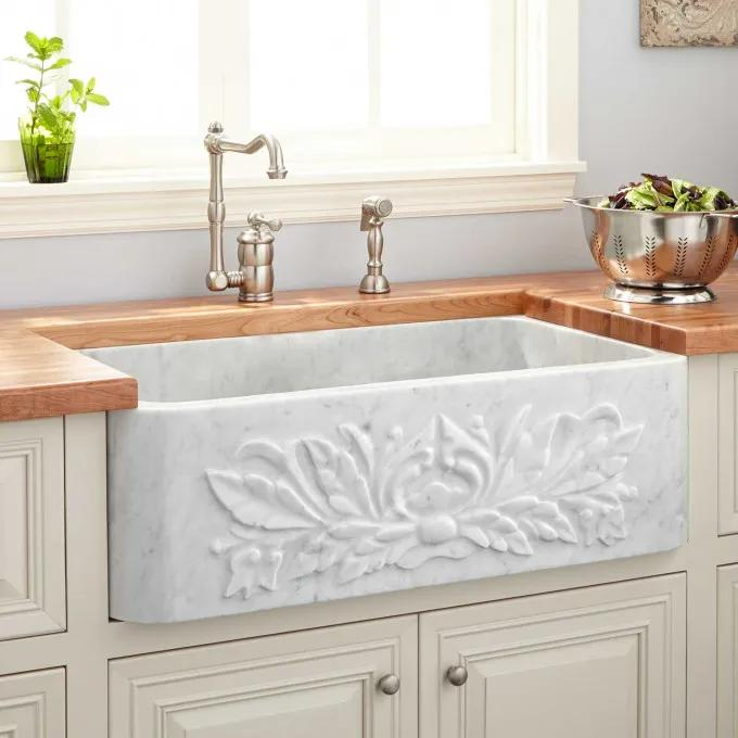 "30"" Ivy Polished Marble Farmhouse Sink - Carrara"