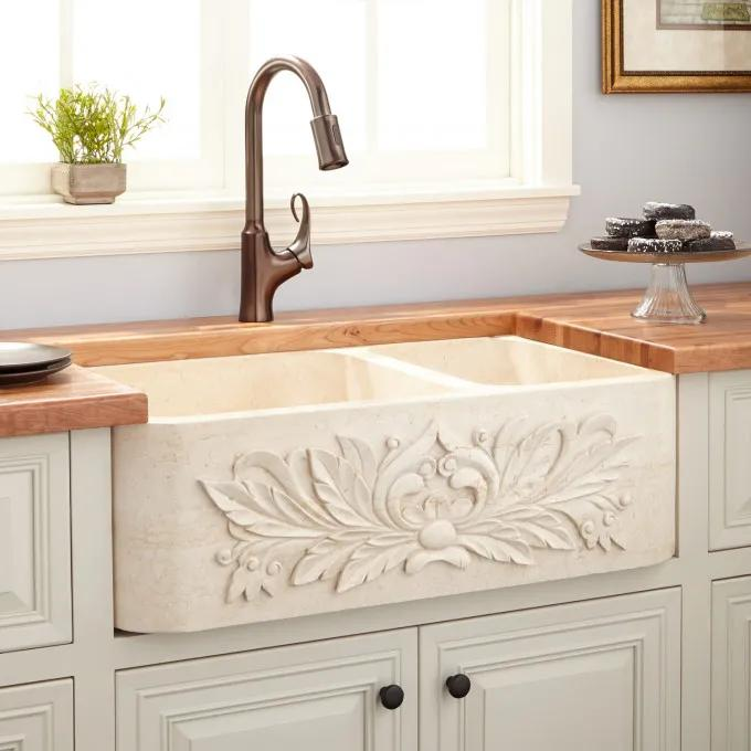 """33"""" Ivy 70/30 Offset Double-Bowl Polished Marble Farmhouse Sink - Cream Egyptian"""