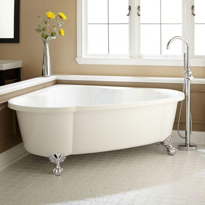 "70"" Talia Corner Acrylic Tub - Ball Feet"