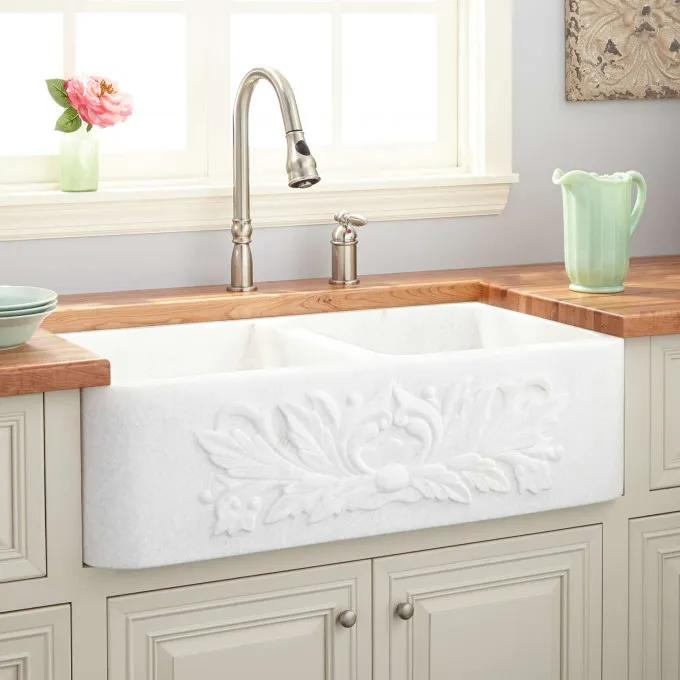 "36"" Ivy Polished Marble Double-Bowl Farmhouse Sink - White Thassos"
