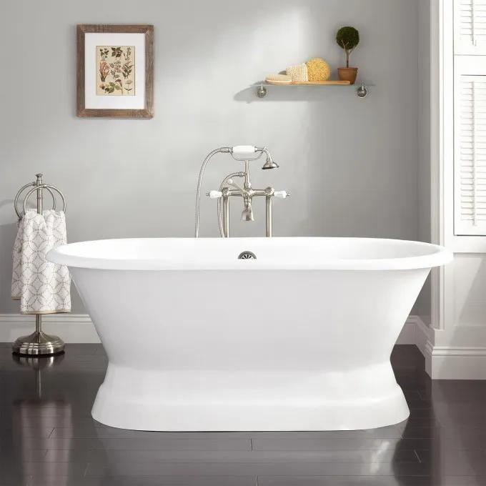 Henley Cast Iron Double-Ended Pedestal Tub - Rolled Rim