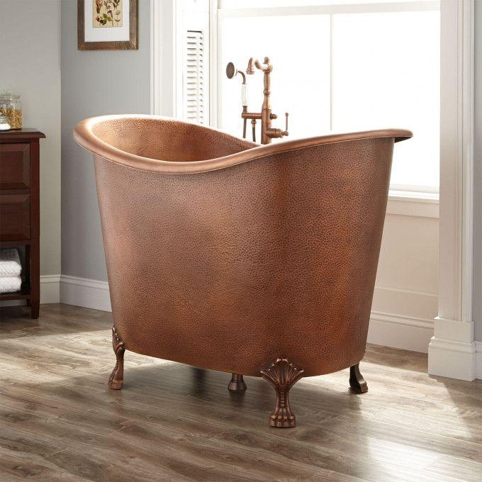 """48"""" Abbey Hammered Copper Double-Slipper Clawfoot Soaking Tub"""