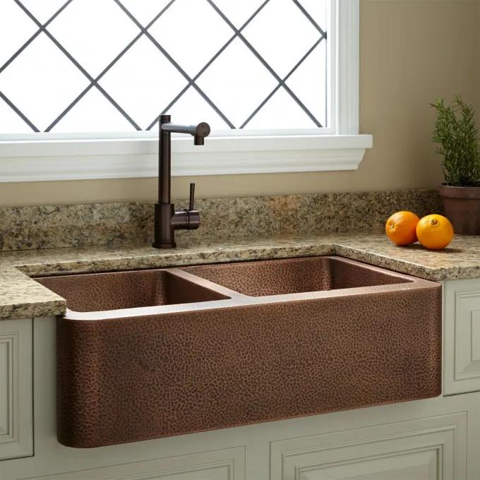"""33"""" Hammered Copper 60/40 Offset Double-Bowl Farmhouse Sink - Small Bowl Left"""