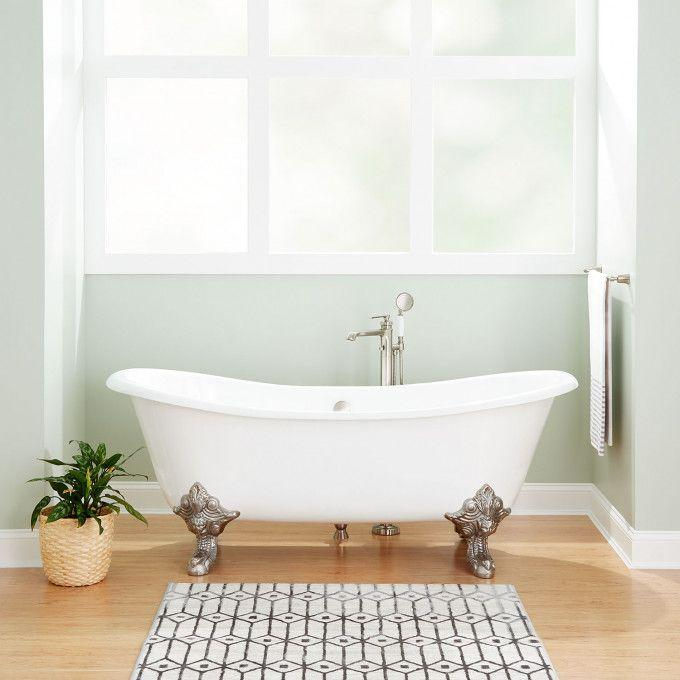 """72"""" Lena Cast Iron Clawfoot Tub - Continuous Rolled Rim - Monarch Imperial Feet"""