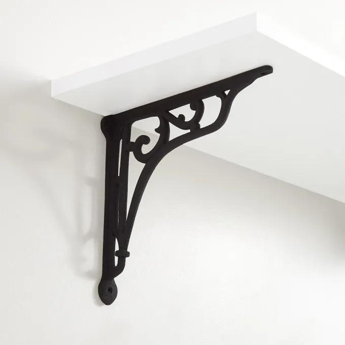 Whorl Cast Iron Shelf Bracket - Black Powder Coat