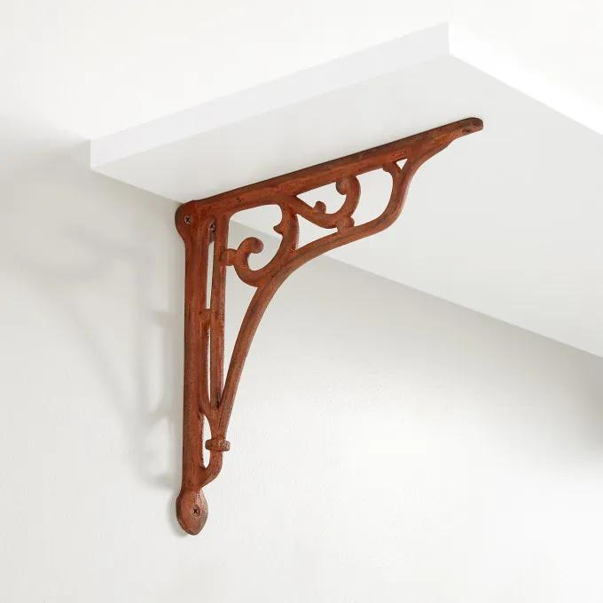 Whorl Cast Iron Shelf Bracket - Rust