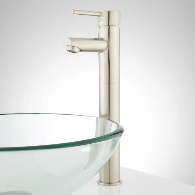 Rotunda Straight Spout Single-Hole Vessel Faucet with Pop-Up Drain