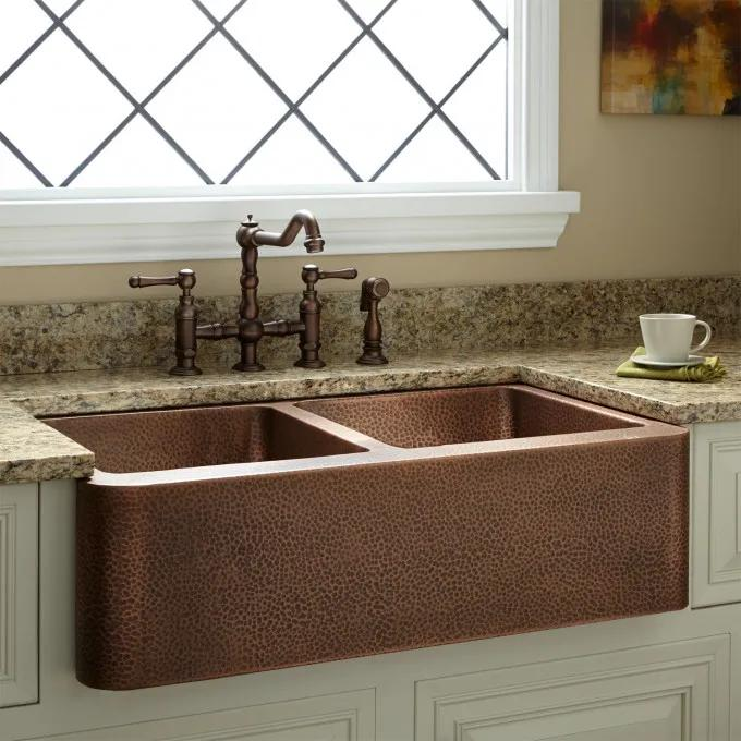 """35"""" Double-Bowl Hammered Copper Farmhouse Sink"""