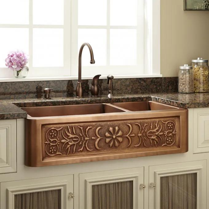 """33"""" Flower Motif 60/40 Offset Double-Bowl Copper Farmhouse Sink - Small Bowl Right"""