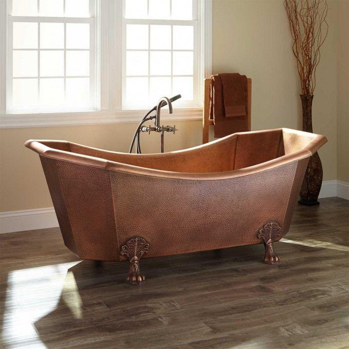 Mariel Eight-Sided Hammered Copper Clawfoot Tub