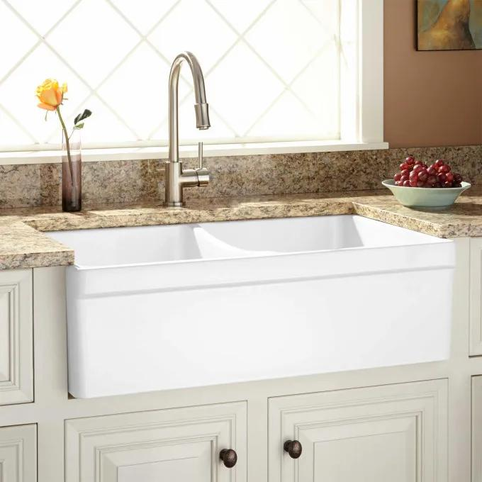"""33"""" Fiammetta Double Bowl Fireclay Farmhouse Sink with Belted Apron Front - White"""