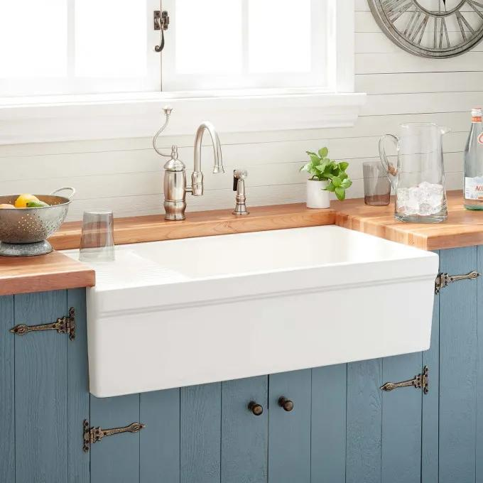 "36"" Gallo Fireclay Farmhouse Sink with Drainboard - Biscuit"