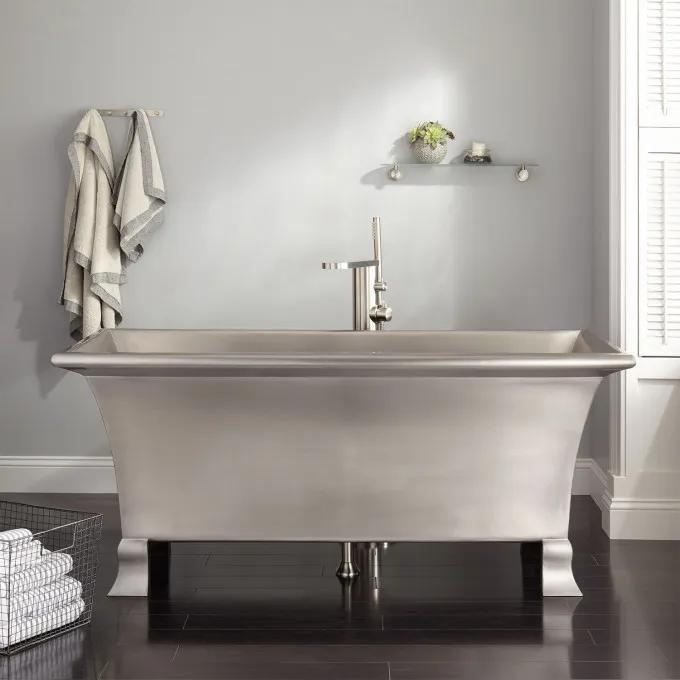 "64"" Kendara Rectangular Stainless Steel Footed Tub"