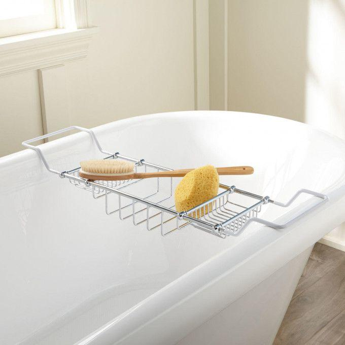 Heavy Duty Tub Shelf - Coated Ends - Solid Brass Construction - Chrome Plated
