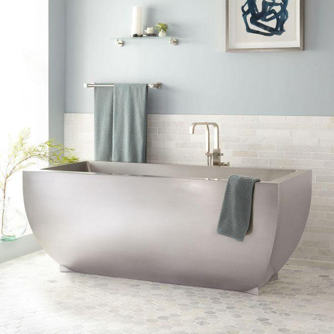 "72"" Fabian Brushed Stainless Steel Freestanding Tub"