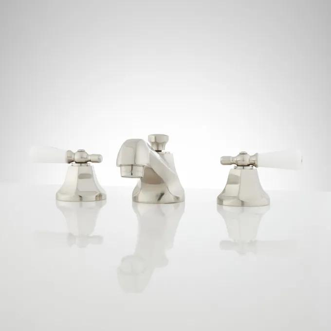 New York Widespread Bathroom Faucet - Small Porcelain Lever Handles