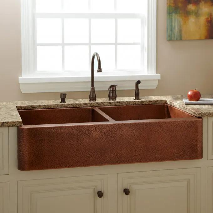 "42"" Fiona Double-Bowl Hammered Copper Farmhouse Sink"