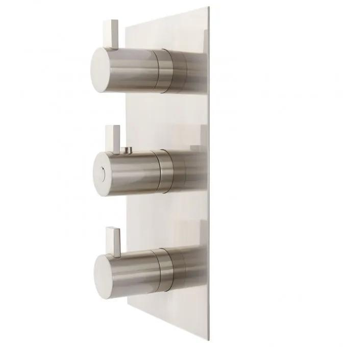 Contemporary 4-Way Thermostatic Valve - Brushed Nickel - Side