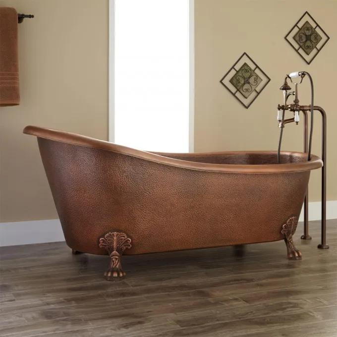 "66"" Donnelly Hammered Copper Clawfoot Slipper Tub"