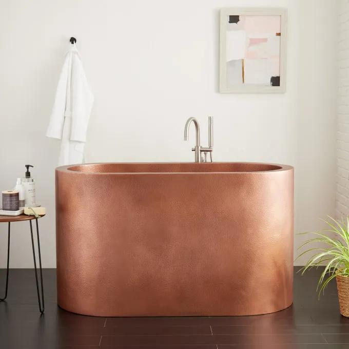 """60"""" Watson Double-Wall Hammered Copper Soaking Tub"""