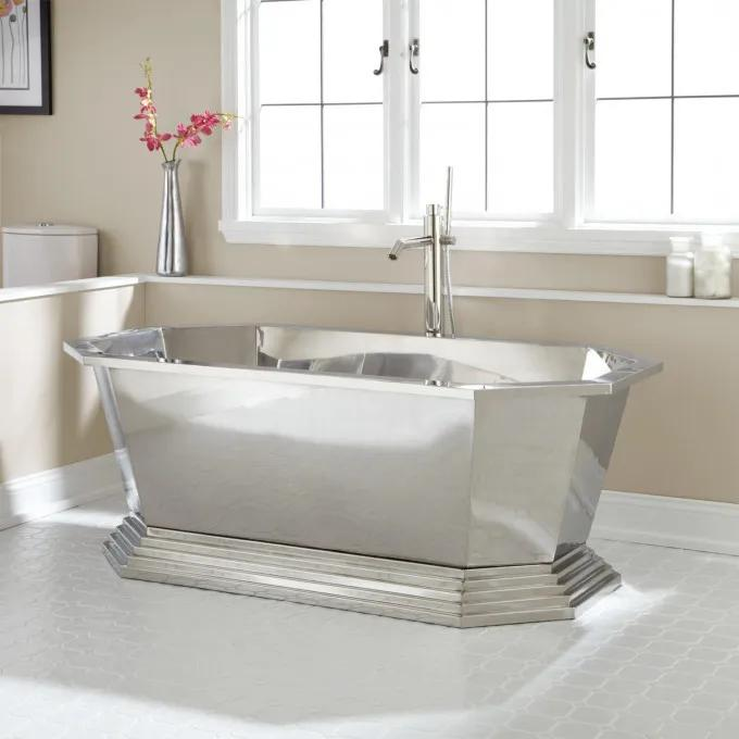 "66"" Selby Polished Stainless Steel Tub - No Faucet Holes"