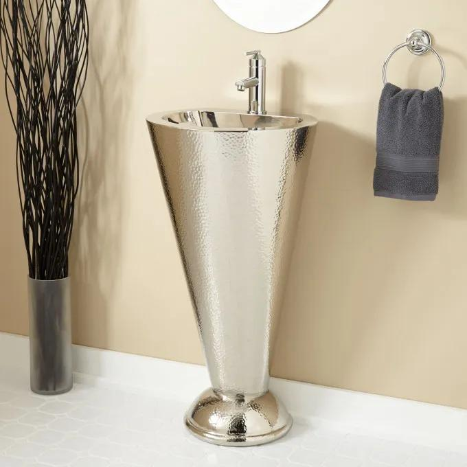 Column Nickel Plated Copper Pedestal Sink with Single Faucet Hole - Nickel