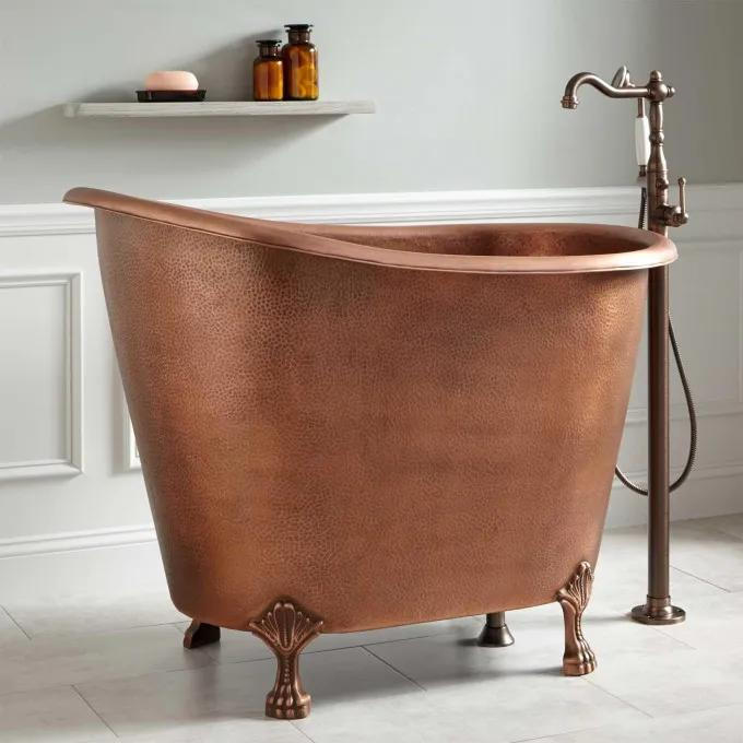 """49"""" Abbey Hammered Copper Slipper Clawfoot Soaking Tub - Antique Copper"""