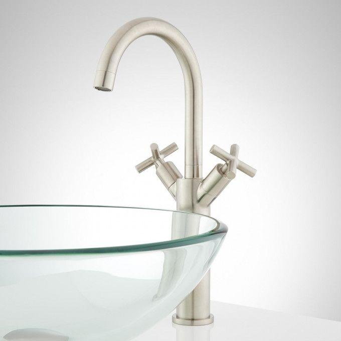 Exira Single-Hole Vessel Faucet with Pop-Up Drain - Brushed Nickel