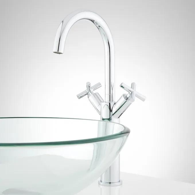 Exira Single-Hole Vessel Faucet with Pop-Up Drain - Chrome