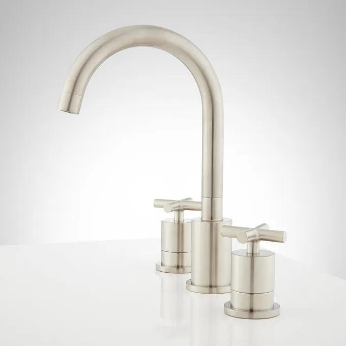 Exira Widespread Bathroom Faucet - Brushed Nickel - Side